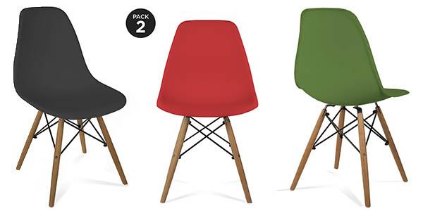 pack de 2 sillas de diseño Eames Tower imitación baratas