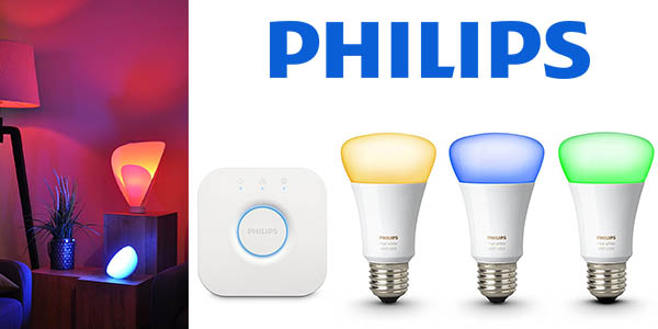 Pack Philips Hue 3 bombillas inalámbricas clase A baratas