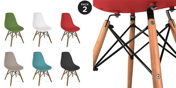 sillas diseño contemporáneo Eames en varios colores chollo