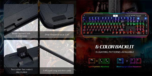 Teclado gaming mecánico barato VicTsing con retroilumación