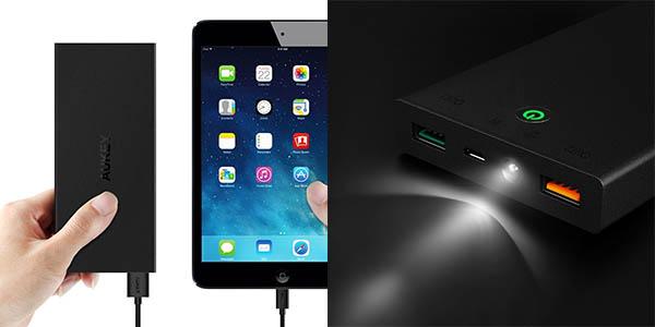 Batería portátil AUKEY 16.000 mAh Quick Charge 2.0 + 5V 2,4A