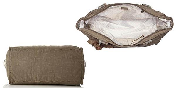 bolso Kipling con compartimentos tipo shopper marrón