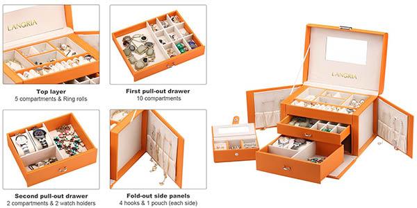 caja-joyero Langria con compartimentos funcional y barata