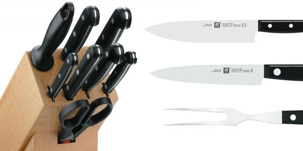 Cuchillos de cocina Zwilling Twin Gourmet con bloque de madera baratos