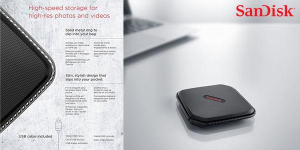 Disco Duro portátil SSD SanDisk SDSSDEXT-240G-G25 Extreme 500 de 240 GB chollazo en Amazon