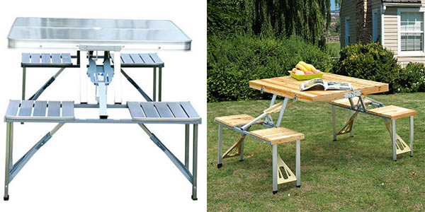 Chollo mesa plegable con 4 asientos para camping y for Mesa plegable con asientos