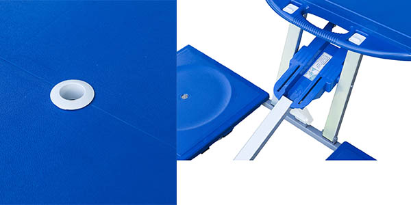 mesa de exterior con agujero para sombrilla de fácil montaje con genial relación calidad-precio