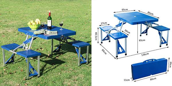 Chollazo mesa plegable con 4 asientos para camping y for Mesa camping carrefour