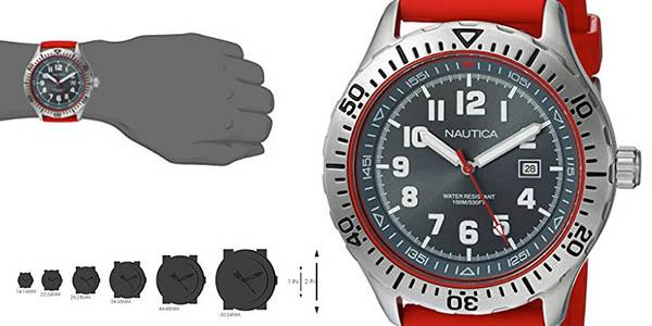reloj sumergible con 2 correas de silicona marca Náutica gran relación calidad-precio