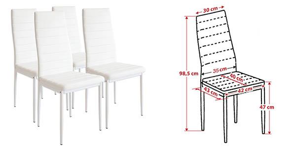 Set 4 sillas Albatros Milano para comedor baratas