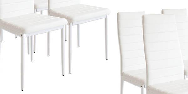 sillas de comedor resistentes con tapizado blanco genial relación calidad-precio