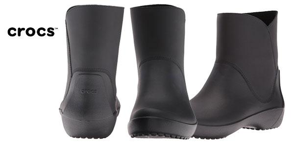 Botines de agua Crocs Rainfloe Bootie en color negro para mujer baratos en Amazon