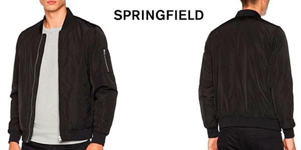 Cazadora Bomber Springfield básica en color negro rebajada en Amazon