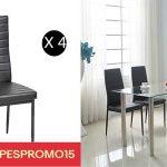 Set 4 sillas tapizadas en cuero artificial negro PESPROMO15 chollazo en eBay