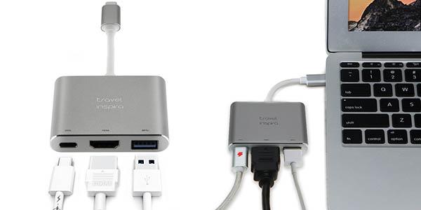 Hub USB-C Travel Inspira con HDMI y puerto de carga