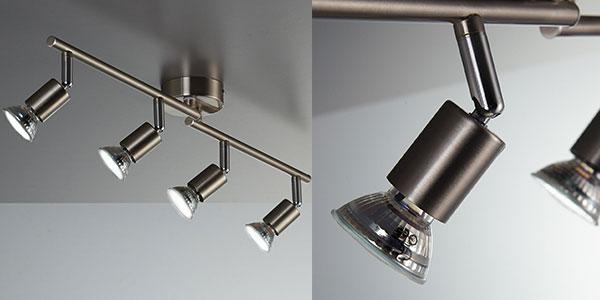 Lámpara de techo LED B.K. Licht con 4 focos orientables y bombillas de bajo consumo al mejor precio