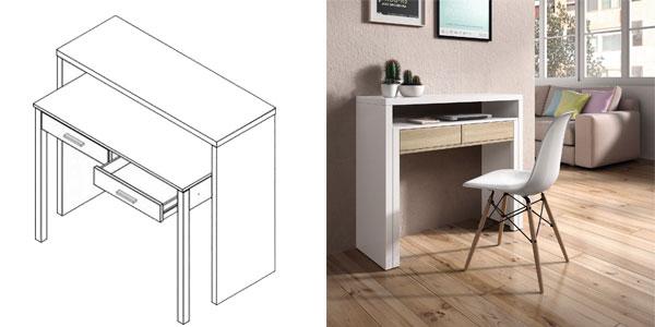 Chollazo mesa consola extensible duehome en blanco y roble for Mesa escritorio barata