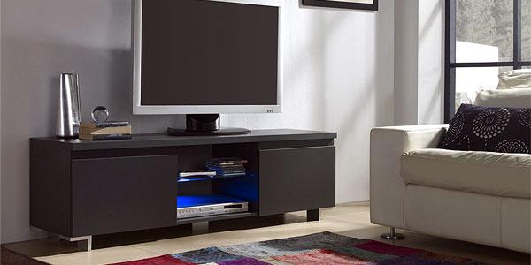 Mueble de TV de 2 puertas con luz LED chollo en Amazon