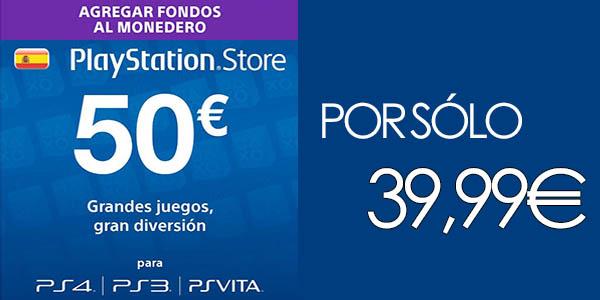 Tarjeta prepago PlayStation PSN Store de 50€