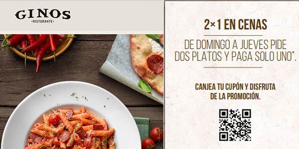 promoción cenas Ginos tomas 2 menús y pagas 1