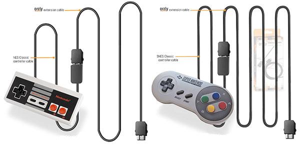 Cables alargadores Orzly para mandos de SNES Mini y NES Mini al mejor precio