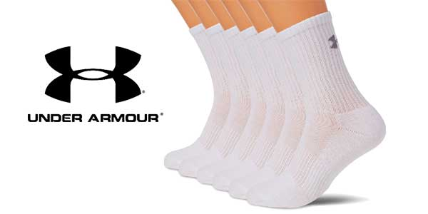 Pack 6 unidades Calcetines Under Armour Ua Charged Cotton 2.0 Crew chollo en Amazon