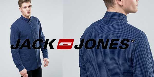 Camisa de corte slim de manga larga de cuadros vichy con bolsillo Originals de Jack & Jones chollo en Asos
