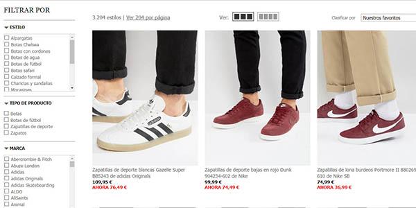 filtros por categorías en la tienda de moda inglesa Asos