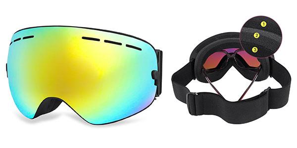Gafas de esquí Hamswan baratas de lente dorada polarizada para adultos