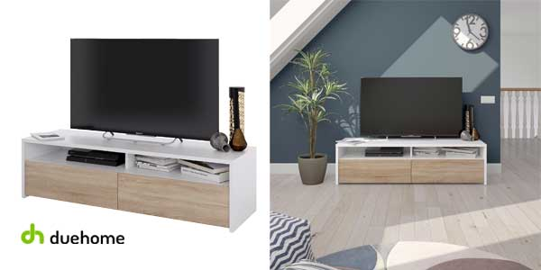 Mueble de salon TV Kioto blanco artik y roble chollazo en eBay