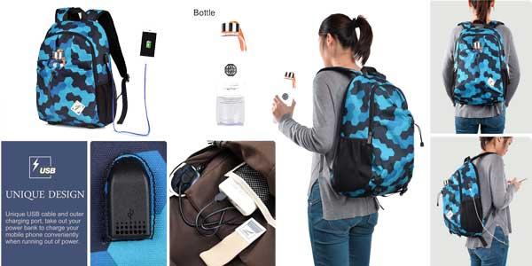 Mochilas VBiger para portátil con puerto USB de carga baratas en Amazon