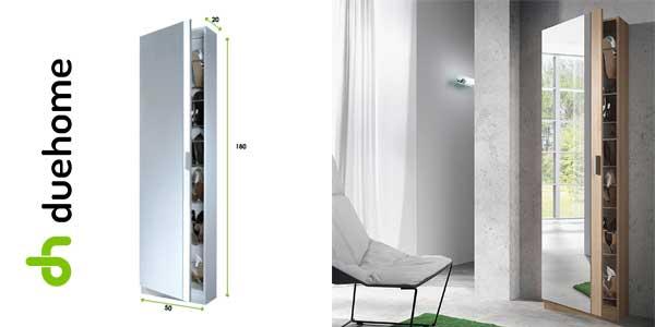 Mueble zapatero con puerta cristal espejo roble canadian chollo en eBay