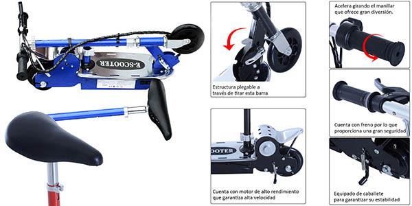 patinete eléctrico con asiento regulable cómodo de utilizar
