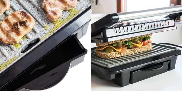 Sandwichera grill Panini 2 en 1 con asador de piedra RockStone de 1000W chollazo en eBay