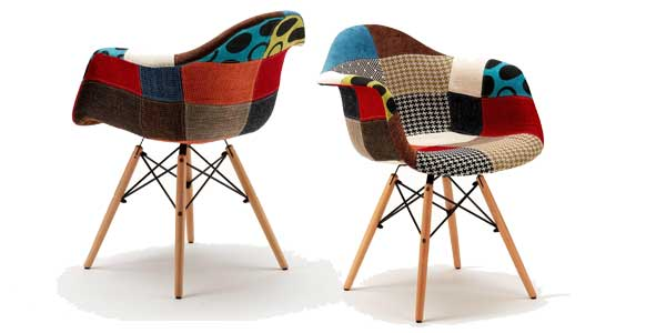 Chollazo silla retro daw patchwork en madera tapizada por for Super chollo muebles