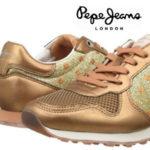 Zapatillas Pepe Jeans London Verona Blim de color dorado para mujer al mejor precio
