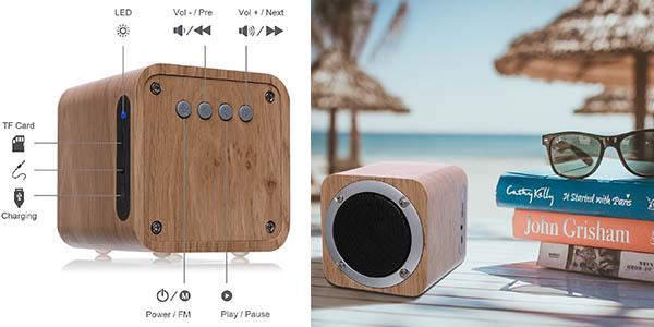 altavoz portátil diseño en madera con gran calidad de sonido chollo