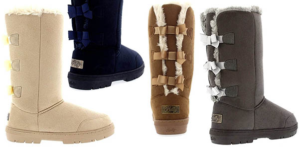 256870dca4c botas Holly Triplet Bow Tall Classic con borreguito en el interior y  terciopelo exterior para mujer