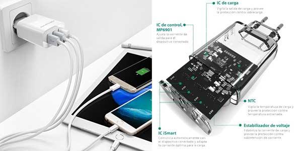 Cargador móvil RAVPower con 3 puertos USB (30W, 5V/6A) chollazo en Amazon