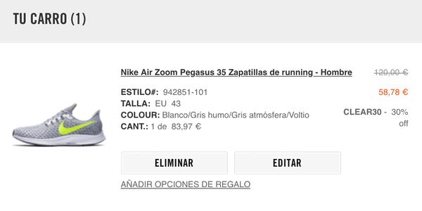 cupón descuento Nike noviembre 2018