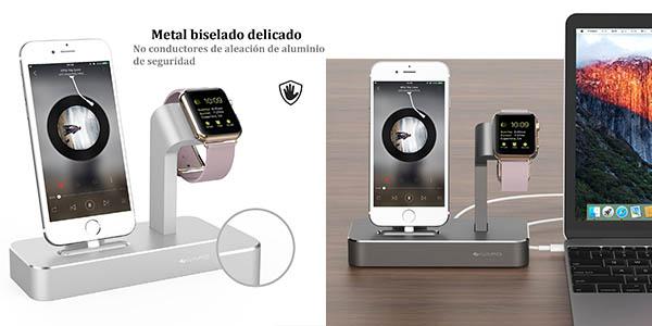 dock para iPhone y Apple Watch ideal para ocultar cables y posición para lectura sobremesa chollo
