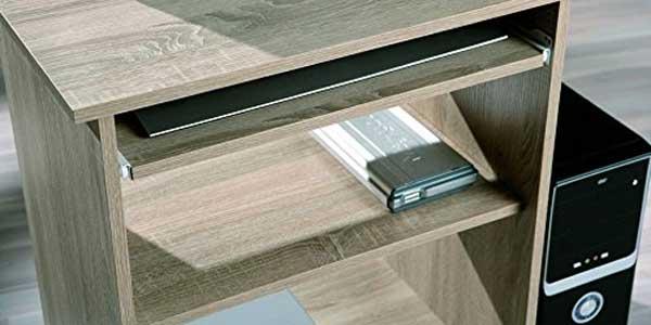 Chollazo escritorio para ordenador compacto de madera for Mesa ordenador amazon