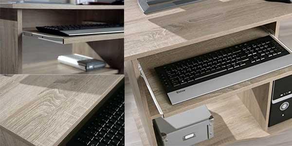 Chollazo escritorio para ordenador compacto de madera for Mesa escritorio con ruedas