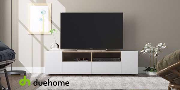 Chollo mueble de sal n y tv duehome tamiko blanco artik y for Modulos tv baratos