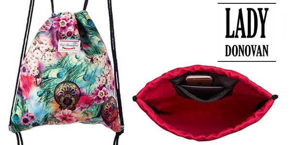 mochila saco Lady Donovan en lino con cordones tipo cuerda chollo