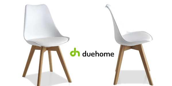 Pack 4 sillas de comedor blancas modelo Bench de duehome estilo nórdico baratas en eBay