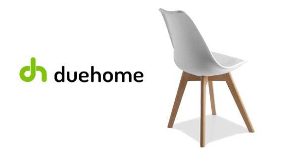Pack 4 sillas de comedor blancas modelo Bench de duehome estilo nórdico chollazo en eBay