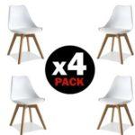 Pack 4 sillas de comedor blancas modelo Bench de duehome estilo nórdico chollo en eBay