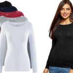 Pack de 5 camisetas de manga larga para mujer chollo en Amazon
