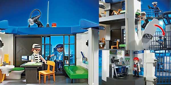 Comisaría de policía con prisión y helipuerto de Playmobil (6919) City Action barato en Amazon